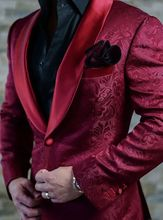 2019 New Airtailors Burgundy Paisley Pattern Shawl Lapel Dinner Jacket for Wedding Plus Size