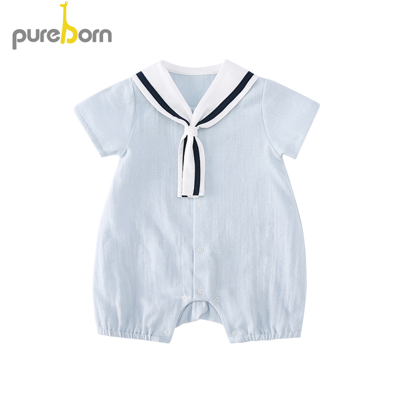 Pureborn Newborn Sailor   Romper   for Baby Boys and Girls Cute Cartoon Cotton Summer Breathable Photography Baby Clothes Coveralls