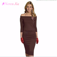 Women S Pencial Dress Slim Solid The Word Collar Sexy Office Dresses Spring Autumn Base Dress