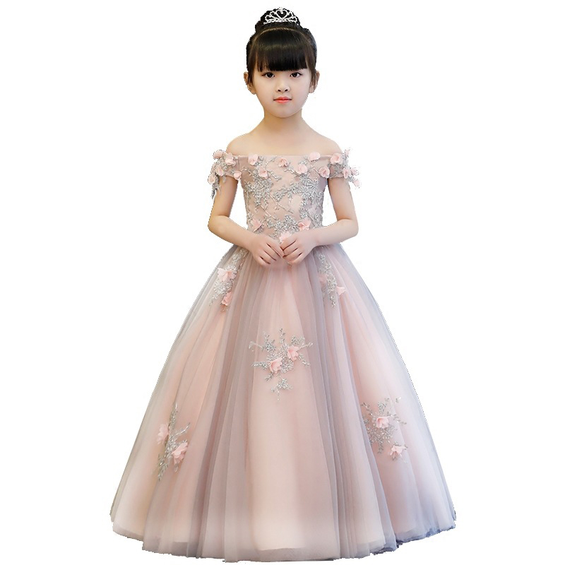 New Girls Fashion Shoulderless Wedding Birthday Party Dress Appliques Princess Evening Dress First Communion Gown for Girls A5 New Girls Fashion Shoulderless Wedding Birthday Party Dress Appliques Princess Evening Dress First Communion Gown for Girls A5