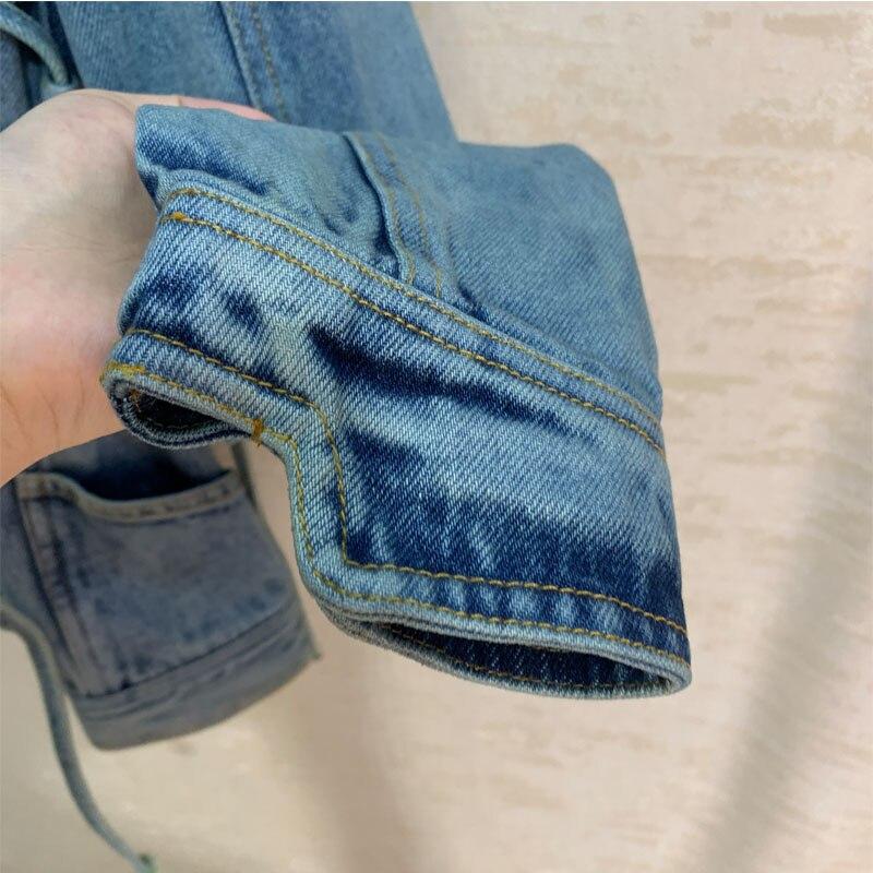 Kleidung frau Runway style Fashion temperament denim jacke frau langarm dünne denim jacke - 3