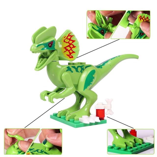 Oenux New 12PCS Jurassic Dinosaur Figures Building Block T-Rex Indomirus Pterosauria Triceratop Dinosaurs Animal World Brick Toy 2