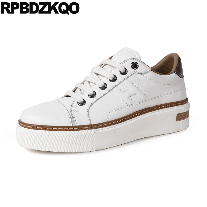Muffin Black Women High Quality White Flats Elevator Lace Up Genuine Leather Sneakers Creepers Platform Shoes Thick Sole Skate girls and ladies favorite white roller skates with full grain genuine leather dual lane roller skate shoes for adult skating