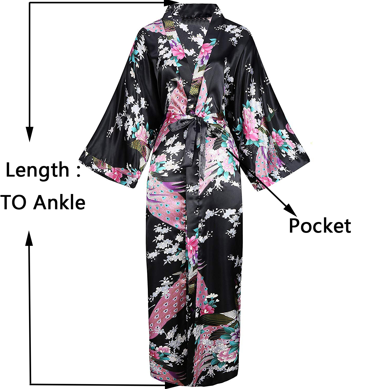 Black Noble Nightwear Kimono Robe Bath Gowns Women Satin Evening Nightdress Print Peacock Rayon Long Robes Sleepwear Home Gown