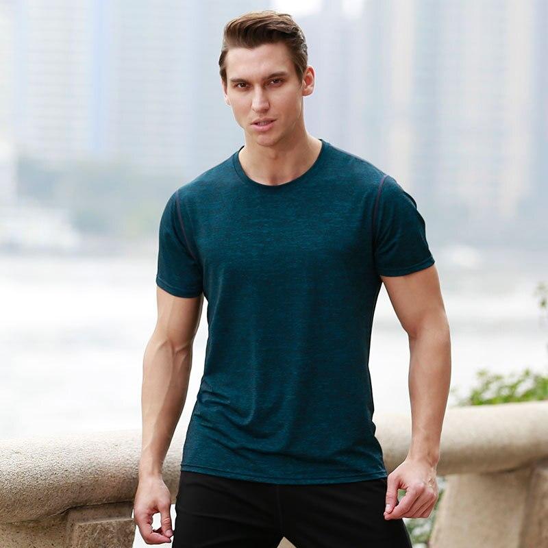 2018 Summer Sports Shirt Men Fitness Running Tshirts Quick Dry T Shirt Running Men Gym Fitness Training Jogging Sportswear Shirt