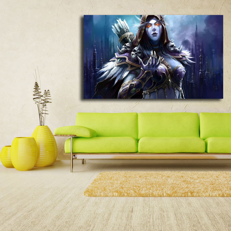 World Of Warcrafts Sylvanas Windrunner Cape Fantasy Girl Canvas Posters Prints Wall Art Painting Decorative Picture Home Decor in Painting Calligraphy from Home Garden