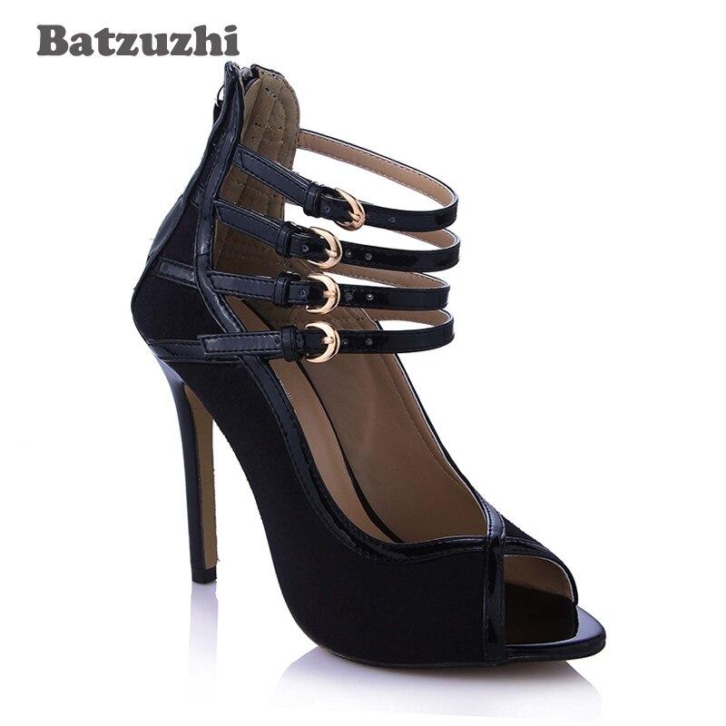 Mujeres Zapatos Para Punta Negro 5 Tacón 12 Abierto Abierta Cuero Pista Mujer Alto Pie Del De Cm Dedo Tacones Batzuzhi Las Correas Bombas wIqRB6x6