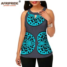 2019 spring&summer african wax print tank top for women AFRIPRIDE tailor made sleeveless o-neck women casual tank top A1922001 casual u neck ethnic print racerback top for women