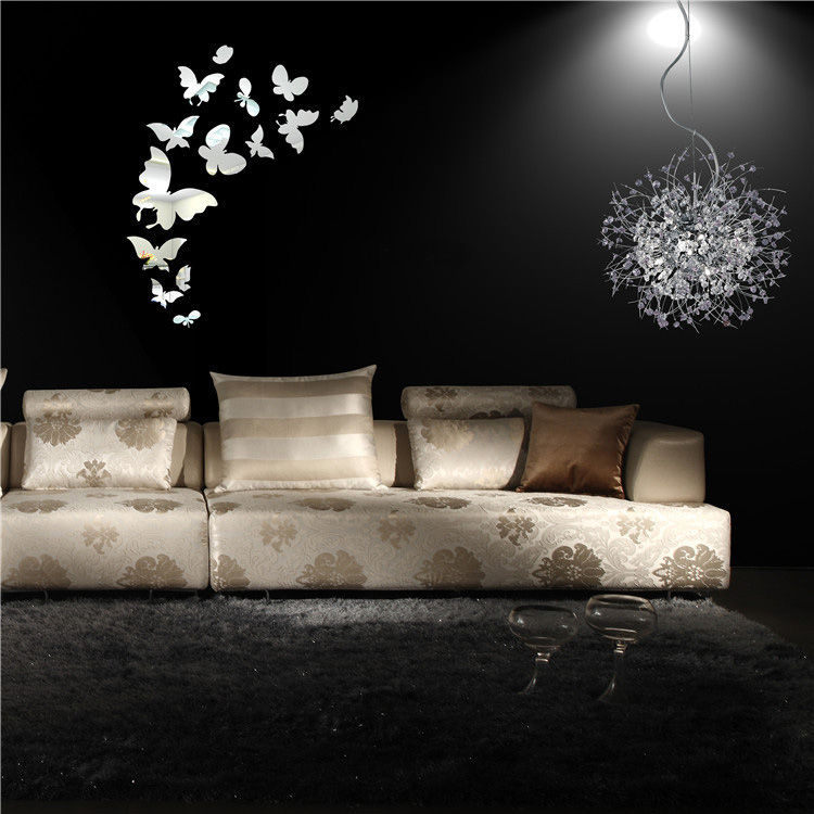 Hot New Cute Plastic 14Pcs Silver Butterfly Mirror Wall Stickers Home Art Room Bedroom Decors Decorations DIY