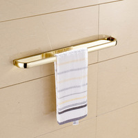Golden Polished Bars Wall Mounted Single Towel Rack Bar Towel Holder Solid Brass Bathroom Accessories 3