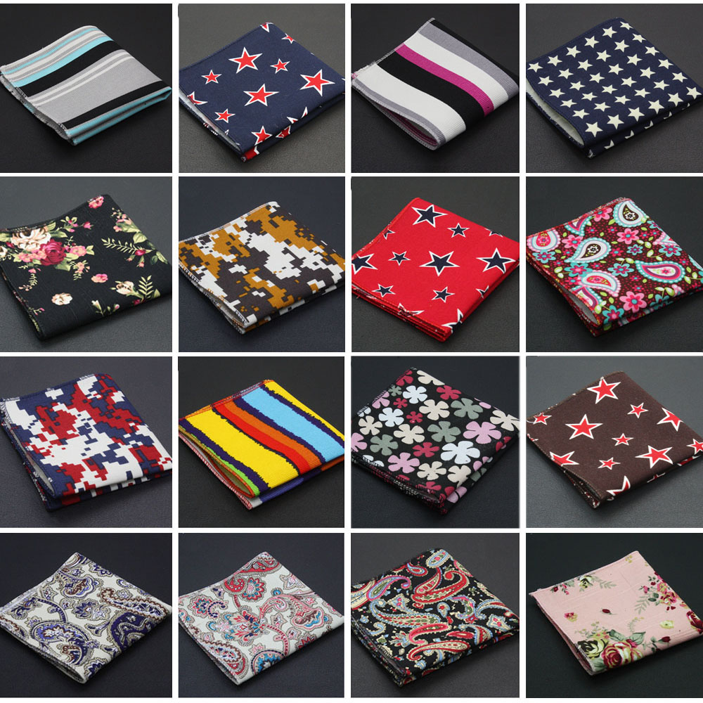 Men Linen Cotton Pocket Square Stripe Floral Stars Paisley Printed Handkerchief Hanky QNTIE0035