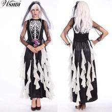 New Adult Ghost Bride Costume Black Skeleton Dress Zombie Wedding Skull Fancy Long
