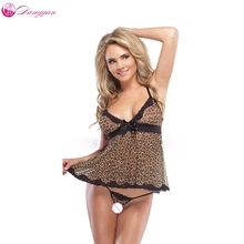 goorselent plus size women Leopard sexy dress with G-string erotic lingerie adult porn sleepwear costumes