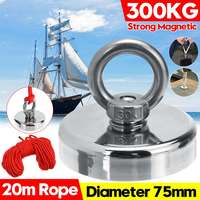 SWILET 300Kg D75mm Strong Powerful Round Neodymium Magnet Hook Salvage Magnet Sea Fishing Equipments Holder + 20M Rope + Ring