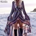ZANZEA 2017 Новый Сексуальный V Шеи Чешские Пляж Длинные Платья Мода Дамы Свободные Бабочки Рукавом Оборками Сплит Vestidos Femininas
