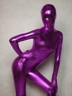 (S0011) фиолетовые блестящие металлические колготки унисекс Оригинальные фетиш костюмы зентай