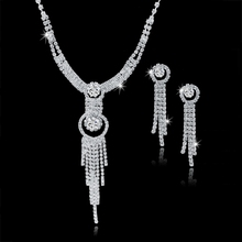 Crystal Rhinestone indian Jewelry Set For Women Silver plated Tassel Necklace Earring Set Wedding Accessories Gift Set150051117