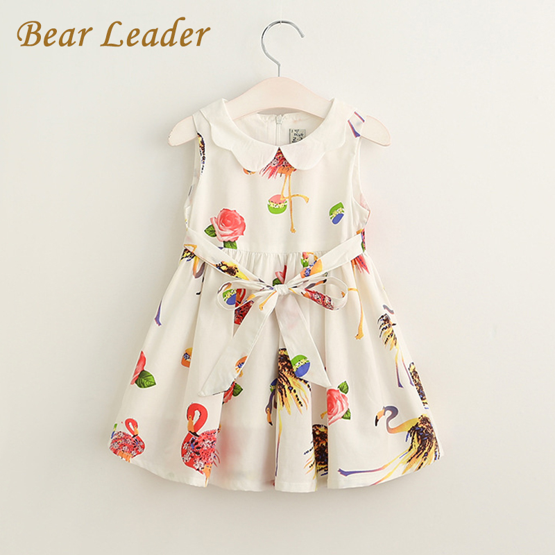 Bear Leader Girls Dress 2017 New Summer Style Baby Girls Dress Sleeveless Peter pan Collar Sashes Print Princess Dresses 3-8Y bear leader girls dress 2016 new summer style party dress stella the swallow embroidered sleeveless dress girls princess dress
