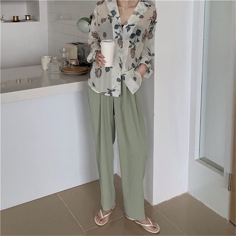 HziriP 2019 New Summer Women Office High Waist Trousers Women Casual Loose Fashion Solid Green   Wide     Leg     Pants   Pantalones Mujer