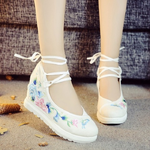 2019 New Women Canvas Increasing Height Ankle Strap Spring Autumn Shoes China Style Vintage Embroiders Wedges Heels Lady Shoes Pakistan