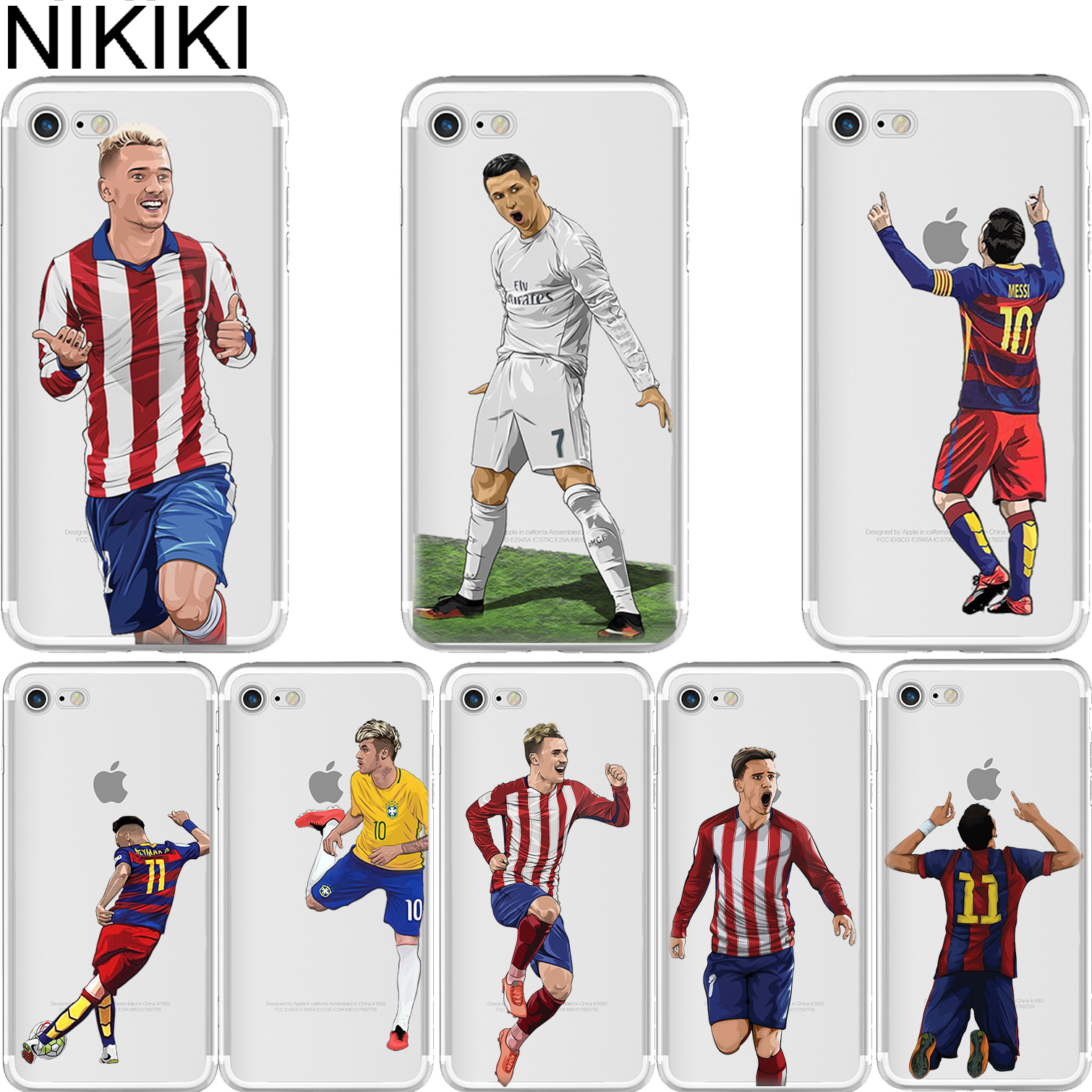 NIKIKI Soccer Cristiano Ronaldo Messi Neymar Soft Silicone Phone Cases Cover for Iphone 6 6S 7 8 Plus 5S SE X Coque Fundas
