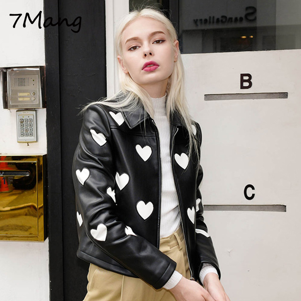7Mang 2019 Women Cute Heart Pu   Leather   Jacket Street Sweet Turn down Collar Soft Slim Ladies Coat Black Long Sleeve Party Jacket