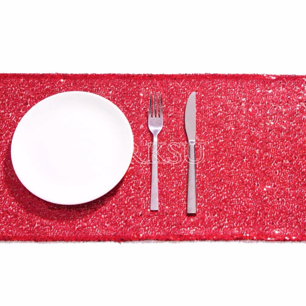 Red Sequin Table Runner Sparking Glitter DIY for Wedding/Christmas ...