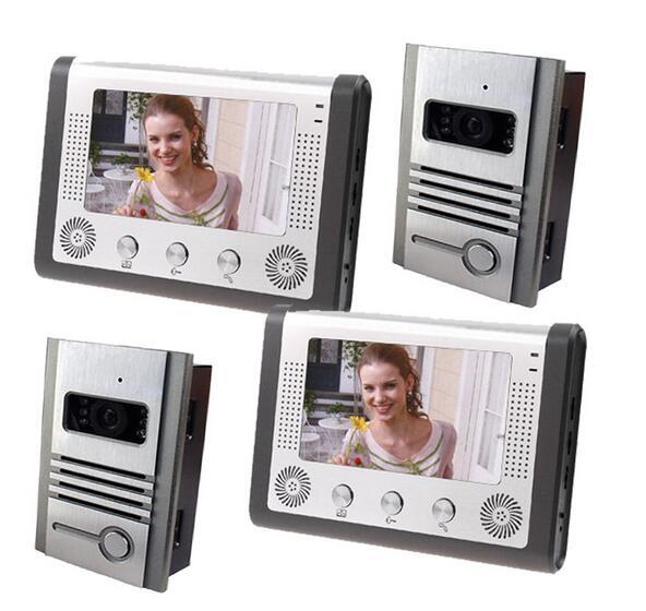 Free by DHL 7 font b TFT b font Doorphone Wired Video intercom font b LCD