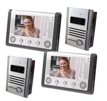 Free by DHL 7″ TFT Doorphone Wired Video intercom LCD 2 Monitor Speakerphone Intercom With 2 Door Cameras Support E-lock