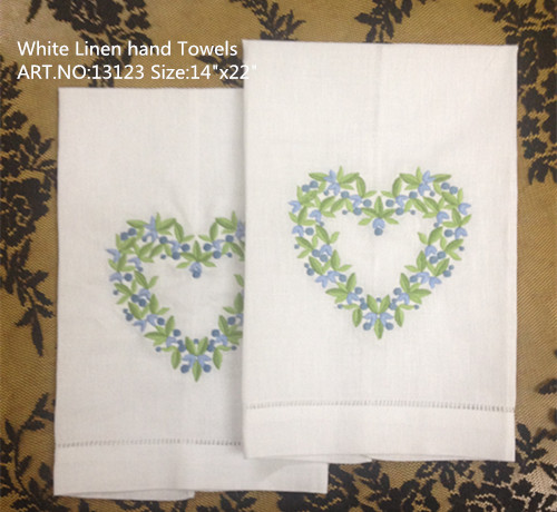 Set Of 12 Home Garden Hand Towels Linen Hemstitched Tea Towel 14