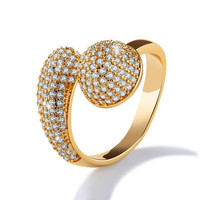 New Fashion Personality High Quality Luxury Ladies Gold Super Flash Crystal Ring Jewelry Gift