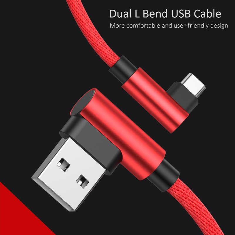 GUSGU Micro Cavo USB 90 Gradi Gomito Nylon Intrecciato Cavo Adattatore di Ricarica Per Samsung Huawei Xiaomi L Tipo di Dati Piegato cavo di Sincronizzazione
