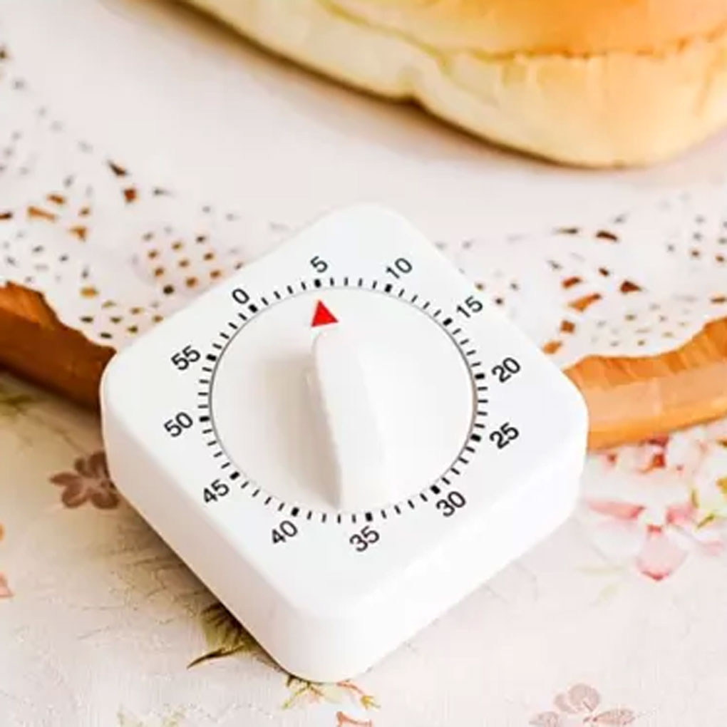 White Kitchen Square 60 Minute Mechanical Timer Reminder Counting