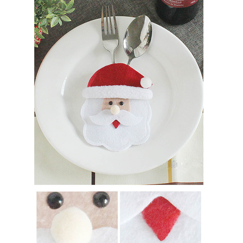 Holders Pockets Knifes Forks Bag Santa Snowman Table Decorations Christmas Knifes Forks Bag Creative Cutlery Cover Pockets P20
