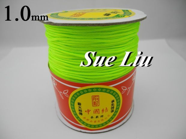 1mm Neon Green Chinese Knot Beading Nylon Cord, 328yd/spool, 328yds=300m=984ft, NCNA-F231