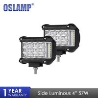 Oslamp 4 Inch 57W Side Luminous Led Work Light Car Driving Lamp Offroad Light Bar Combo