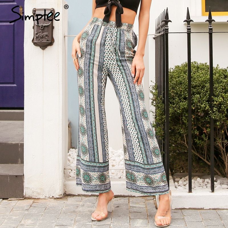 Simplee Stripes floral print casual   pants     capri   Split loose wide leg   pants   women Sash high waist   pants   summer trousers 2018