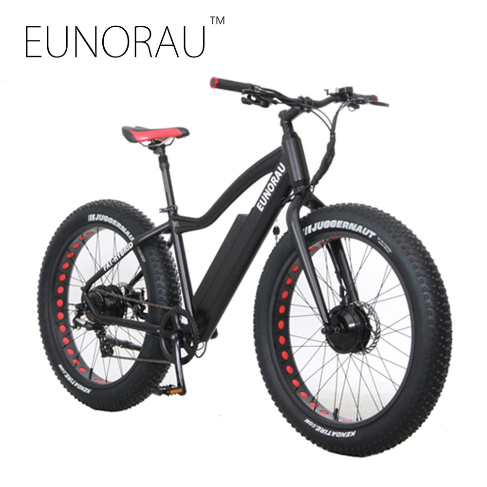 Electric Bike Powerful Fat Tire Electric Mountain Bike 2 front rear motors eBike Beach Cruiser 7 Speed Electric Snow Bicycle