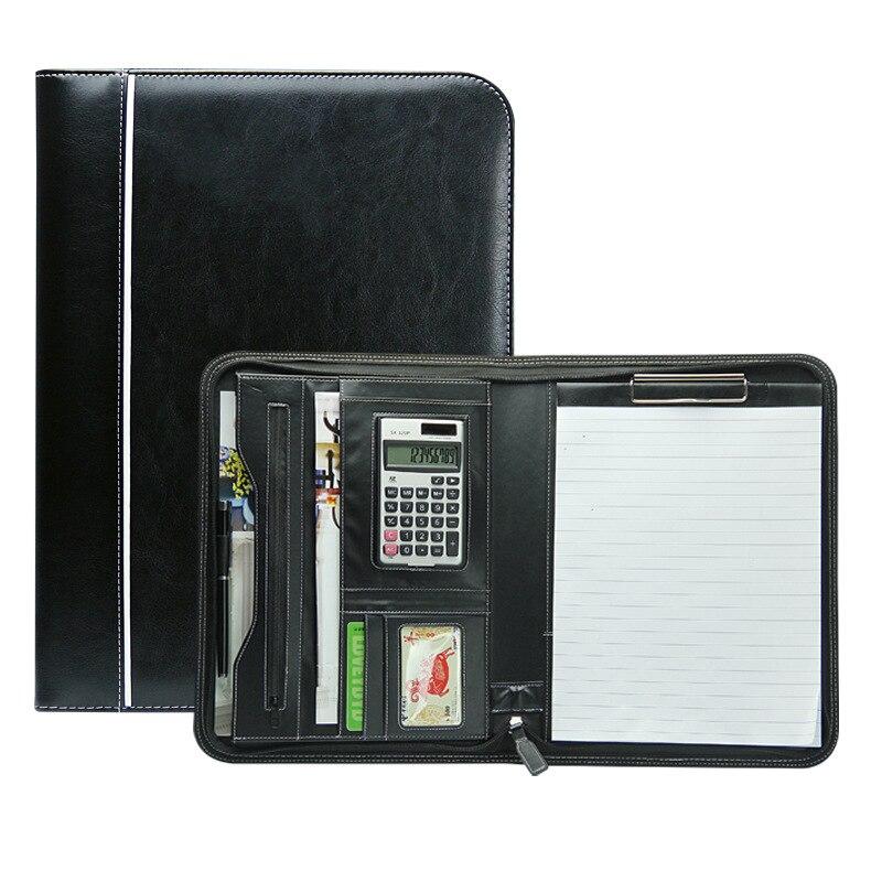 Multifonctionnel affaires personnelles à glissière Padfolio dossier Document sac organisateur PU cuir A4 fichier dossier portefeuille calculatrice