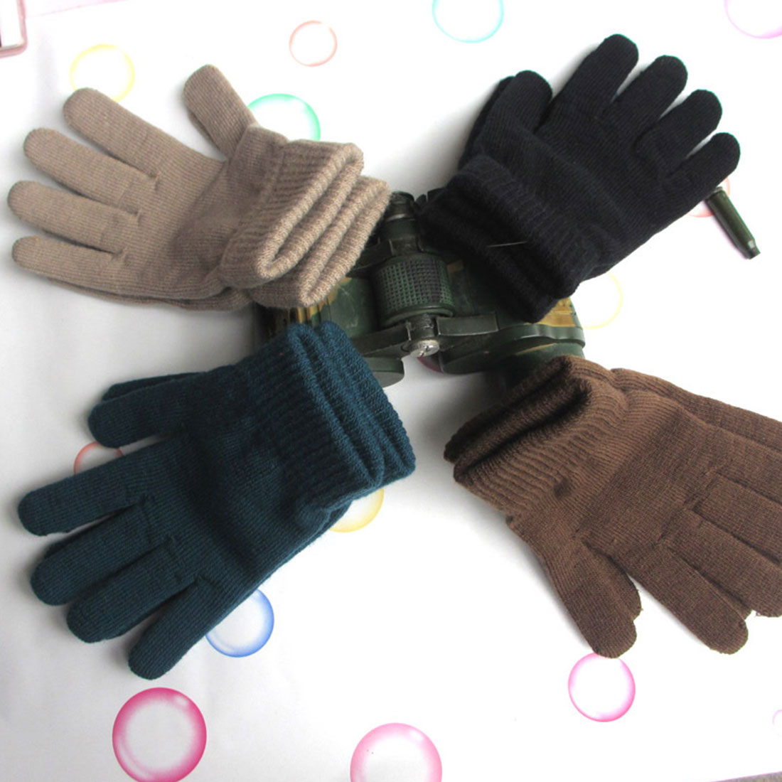 Trendy Casual Snow Thickening Plus Velvet High Stretch Knit Five-finger Magic Gloves Men's And Women's Warm Winter Glove Fashion