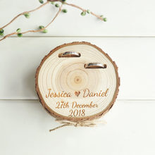 Customized Wedding Gifts Ring Bearer Box Personalized Ring Holder Nature Wood Slice Ring Box For Engagement(China)