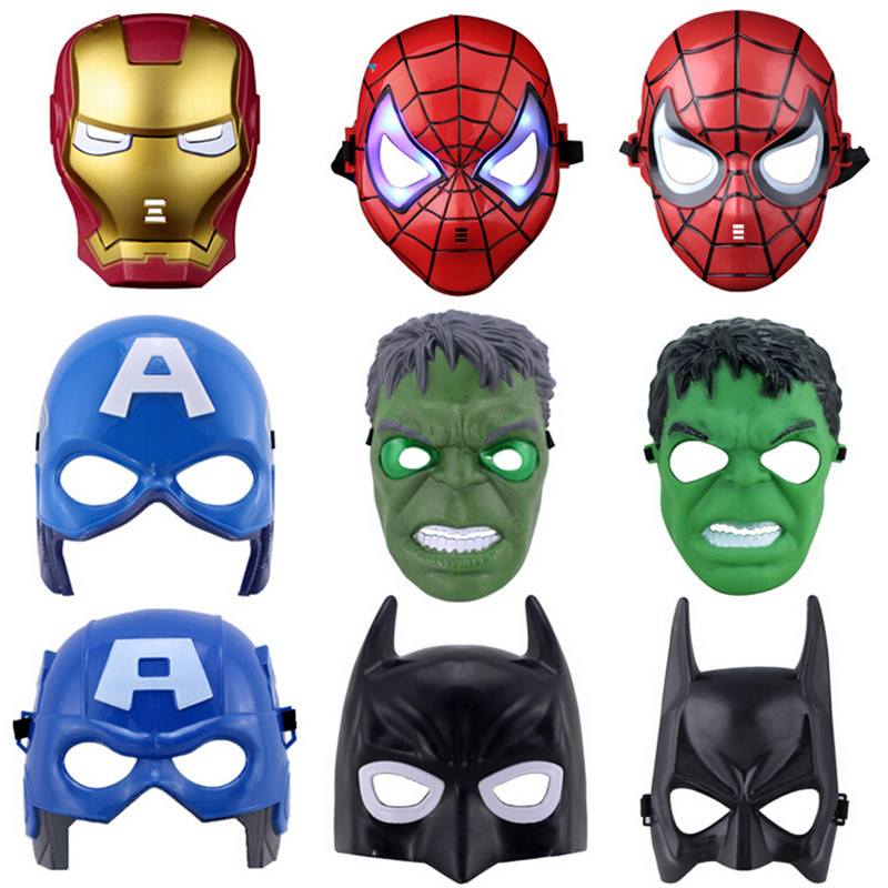 superhero halloween mask lighted kids spiderman iron man hulk batman party masks the avengers mask for childrens day cosplay - Kids Halloween Masks