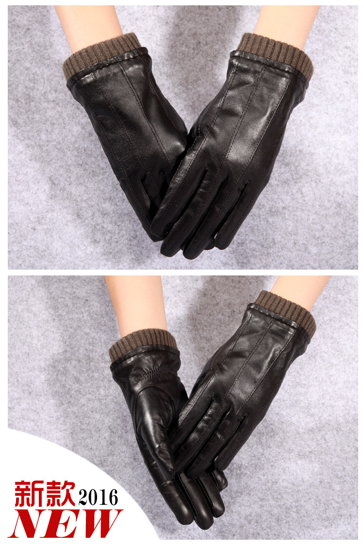 2883a390411b0 Q45 New Fashion Leather Gloves Men's Fine Goatskin with Suede Winter Warmth  Bike Leather Glove Lovers Winter Gloves Men 1 1-2 1-4 4 2 3 5 6 6-1