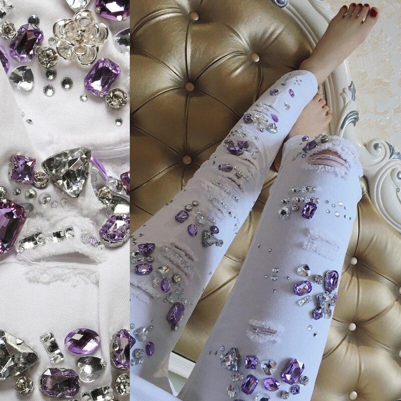 Blanco Diamante Para Femenino Las Púrpura Del Calle 2017 Vaqueros Grano Pantalones Denim Mujeres 14n8nPwqF