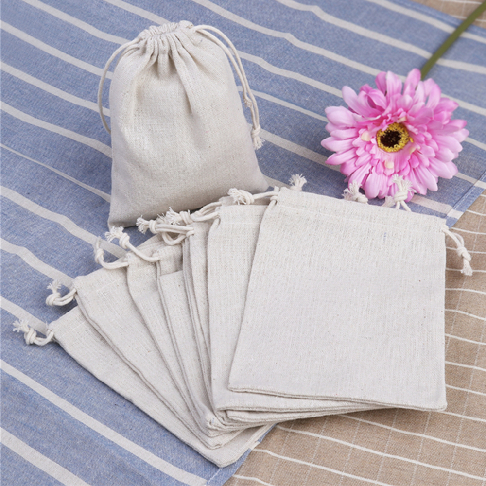 10PCS Burlap Linen Jute Natural Drawstring Gift Bags Sacks Jewelry Pouch Wedding Birthday Party Favors Packaging Bag Supplies