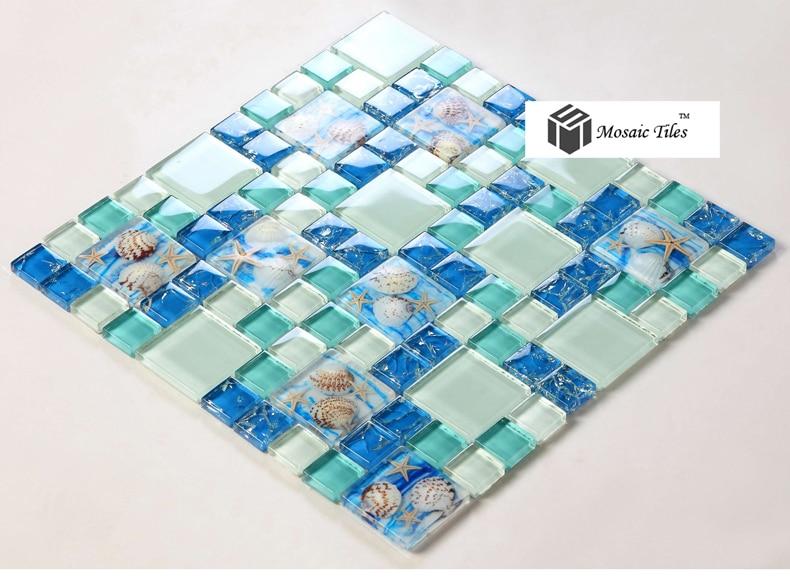 Spiaggia stile mare blu piastrelle di vetro madre perla di resina