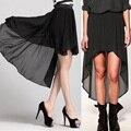 Fanala gasa faldas mujeres double capa 2017 de primavera y verano plisado largo maxi falda elástico de la cintura de la falda femenina