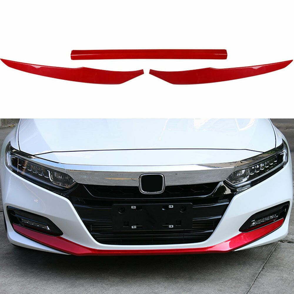 3Pcs Red ABS Front Bumper Front Lip Cover Trim For Honda Accord 2018