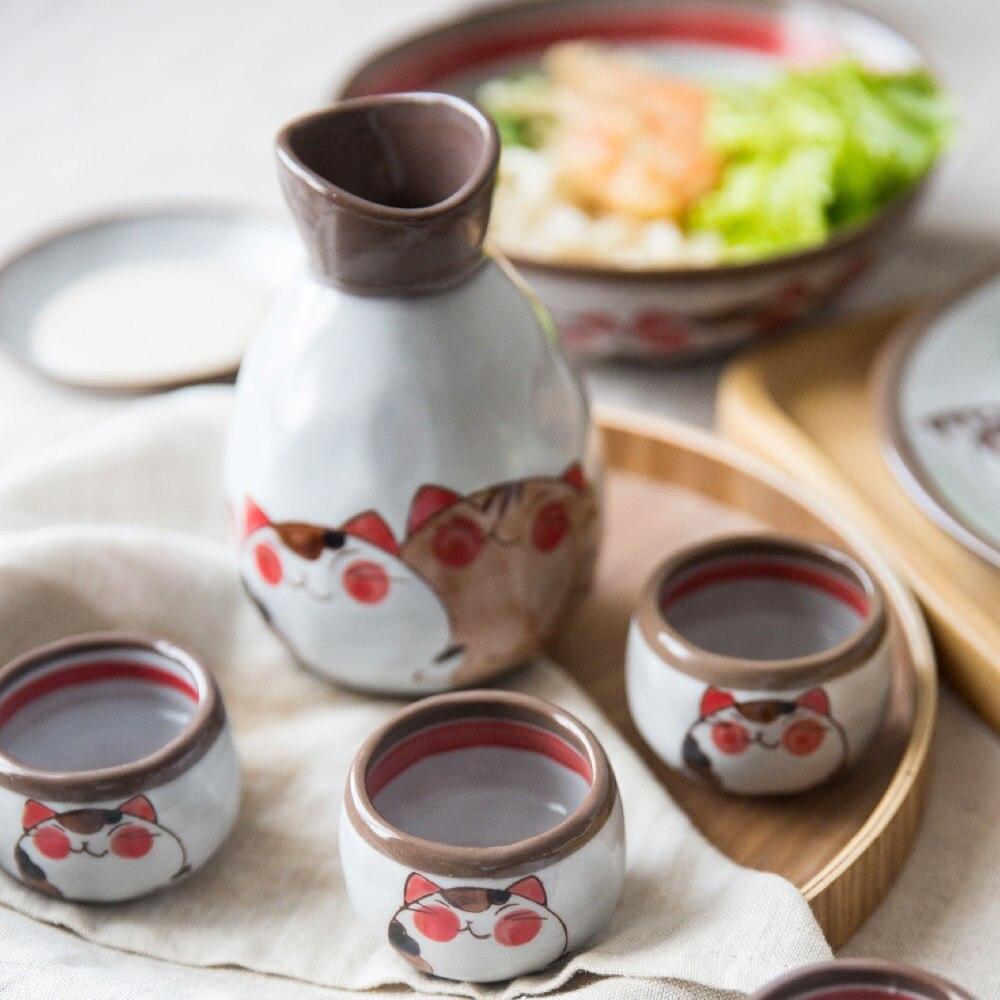 Japanese style Cute Cat Ceramic Wine Set Liquor Sake Wine Creative Household Wine Bottle Set Wine