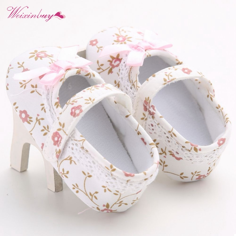 Baby Shoes Toddler First Walkers Crib Floral Soft Soled Anti-Slip Shoes Infant Newborn Girls Princess Shoes